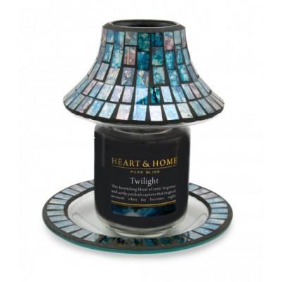 Абажур+чинийка за Свещ буркан-Синьо Сребро Мозайка
